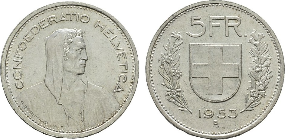 5 Franken 1953. SCHWEIZ Fast Stempelglanz / Stempelglanz