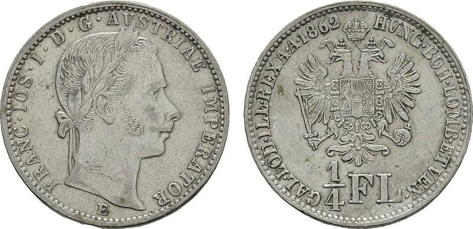 1/4 Gulden 1862, E. KAISERREICH ÖSTERREICH Franz Josef I., 1848-1916. Sehr schön - Vorzüglich