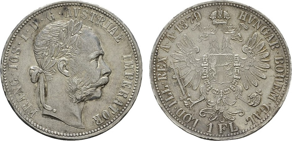 Gulden 1879. KAISERREICH ÖSTERREICH Franz Josef I., 1848-1916. Patina. Vorzüglich