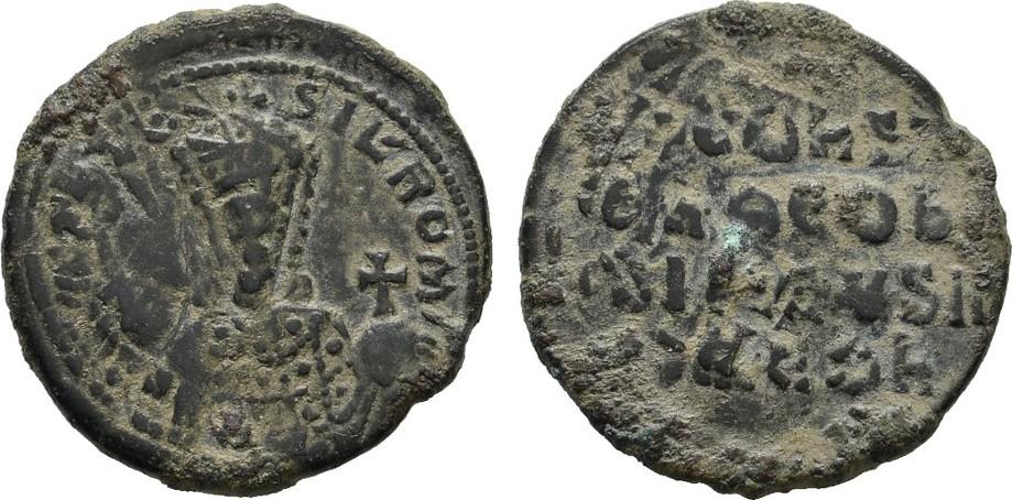 Æ-Follis überprägt auf Follis des Romanus I. BYZANZ Constantinus VII., 913-959 und Romanus II. Überprägungsspuren. Sehr schön +