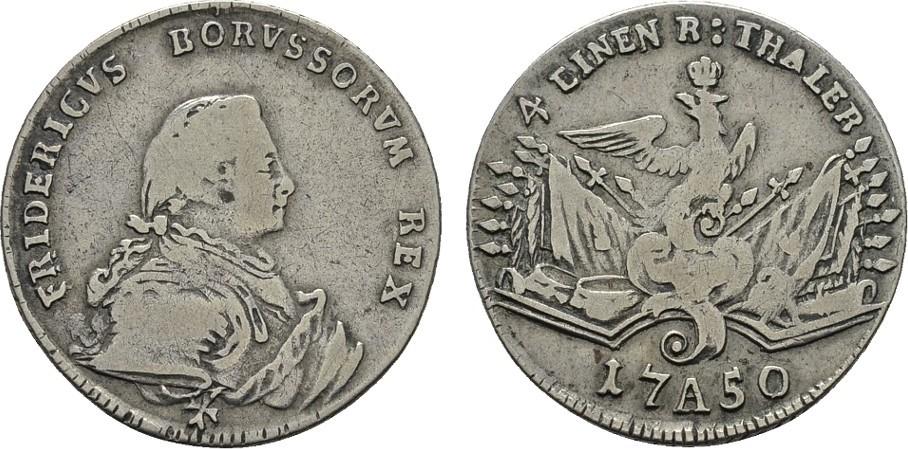 1/4 Taler 1750, A, Berlin. BRANDENBURG-PREUSSEN Friedrich II., der Große, 1740-1786. Sehr schön
