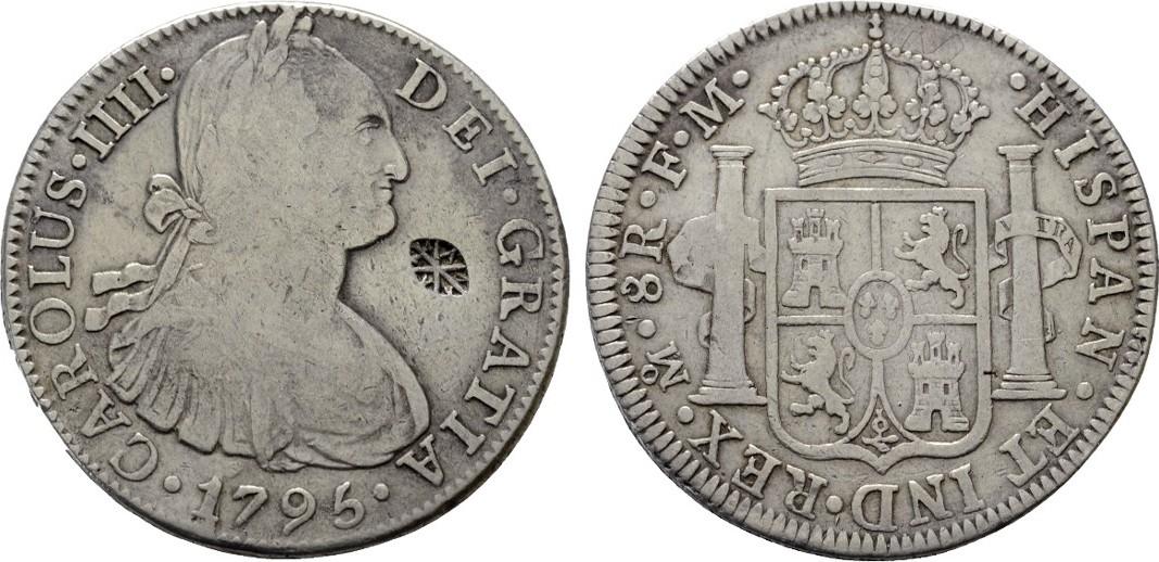 8 Reales 1795 Mexico City Mit Gegenstempel Mexiko Carlos Iv