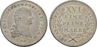 Taler 1802, Düsseldorf. JÜLICH-KLEVE-BERG Maximilian Joseph von Bayern, 1799-1806. Prachtexemplar-Erstabschlag. Fast Stempelglanz/Stempelglanz