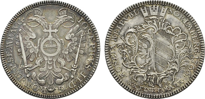 1/2 Konv.-Taler 1766, S.R. NÜRNBERG Feine Töning.. Fast Stempelglanz