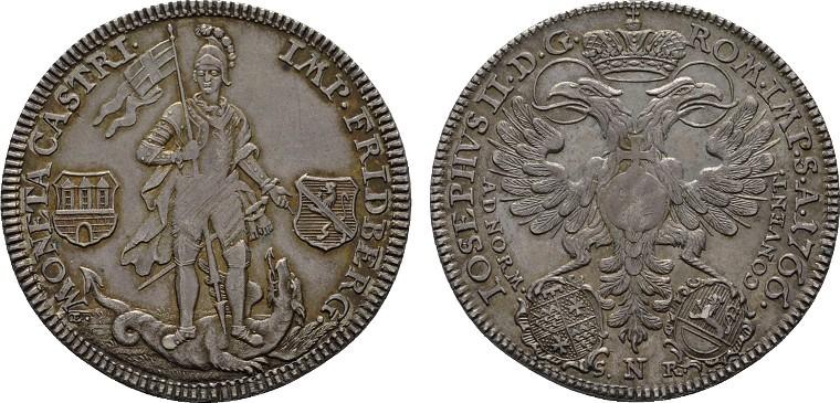 1/2 Konv.-Taler 1766, Nürnberg. FRIEDBERG Franz Heinrich von Dalberg, 1755-1776. Fast Stempelglanz