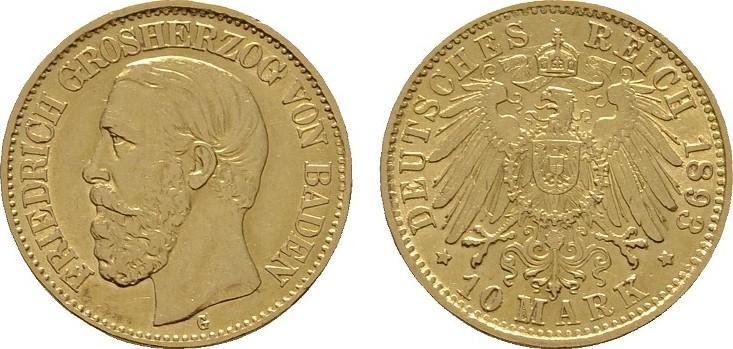 10 Mark 1893, G. Baden Friedrich I., 1852-1907. Vorzüglich