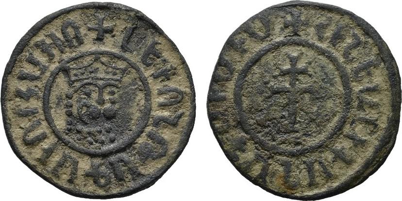 Æ-Tank o.J. ARMENIEN Levon II. (I.), 1187-1199-1219. Mit hellbraunem Sand, braune Patina.Fast vorzüglich-vorzüglich