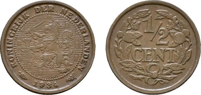 Ku.-1/2 Cent 1934. NIEDERLANDE Wilhelmina, 1890-1948. Vorzüglich +.