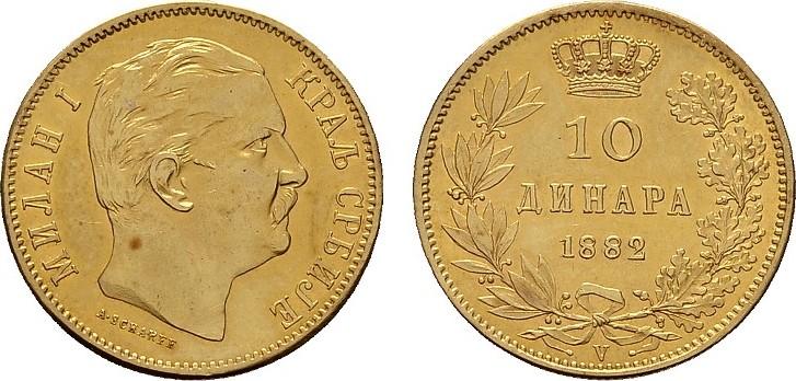 10 Dinara 1882, Wien. SERBIEN Milan IV. Obrenowitsch, 1868-1882-1889. Vorzüglich - Stempelglanz