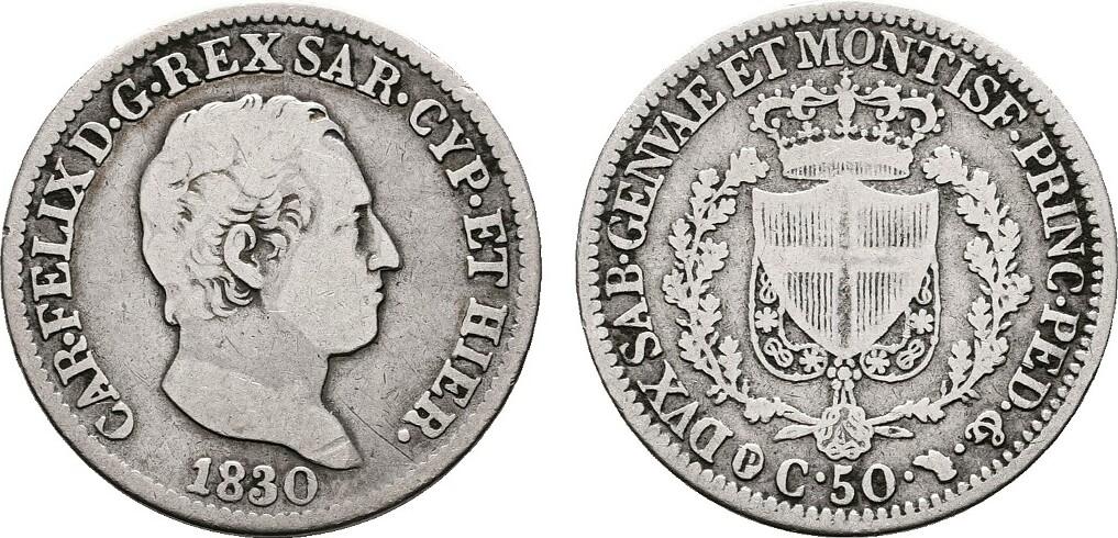 50 Centesimi 1830, Turin. ITALIEN Karl Felix, 1821-1831. Sehr schön.