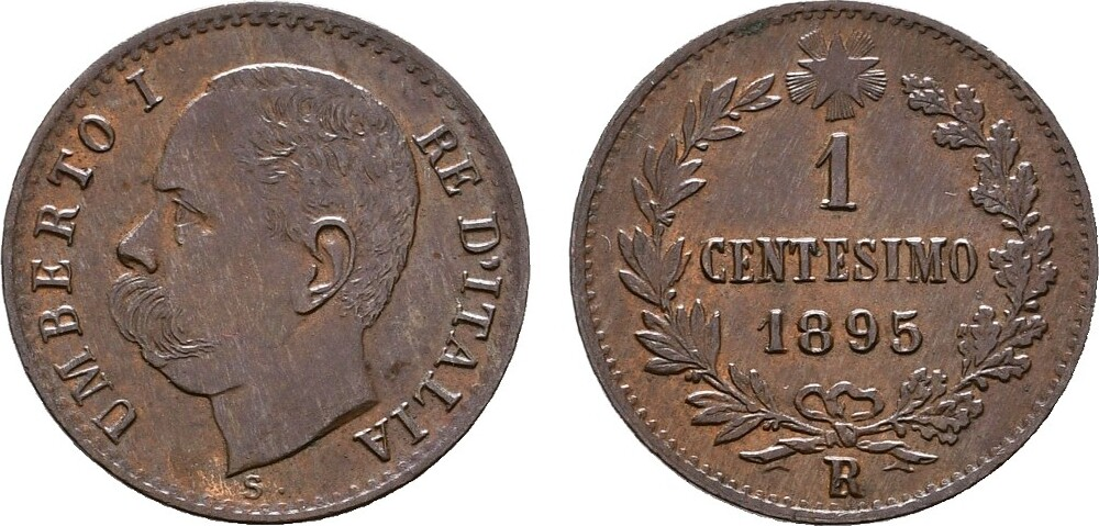 Ku.-Centesimo 1895, Rom. ITALIEN Umberto I., 1878-1900. Vorzüglich - Stempelglanz