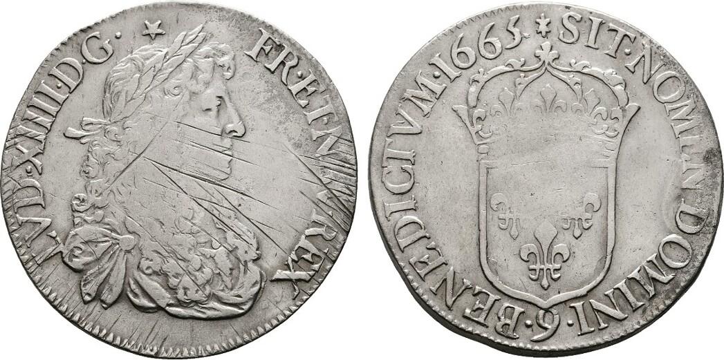 Ecu au buste juvénile 9=Rennes, 1665. FRANKREICH Louis XIV, 1643-1715. Einige Justierstriche. Sehr schön.