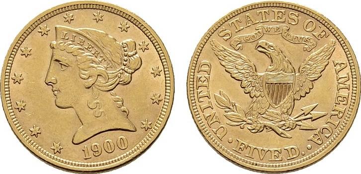 5 Dollar 1900, Philadelphia. USA Vorzüglich - Stempelglanz