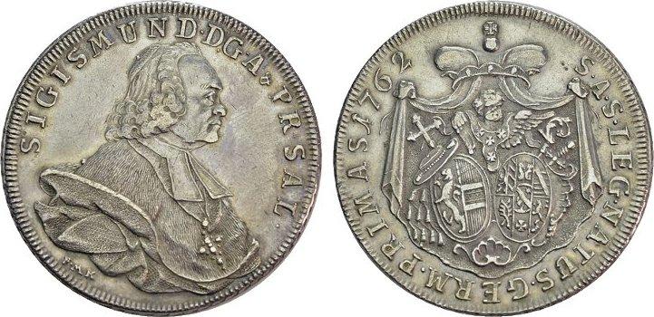 Konv.-Taler 1762. DIE GEISTLICHKEIT IN DEN HABSBURGISCHEN ERBLANDEN Sigismund III. von Schrattenbach, 1753-1771. Vorzüglich.