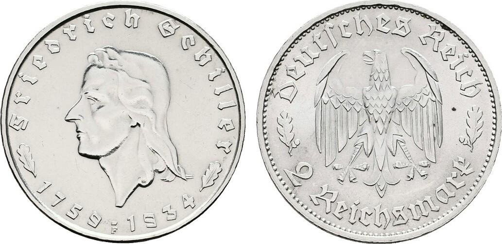 2 Reichsmark 1933, F. DRITTES REICH Leichte Tönung. Fast Stempelglanz.