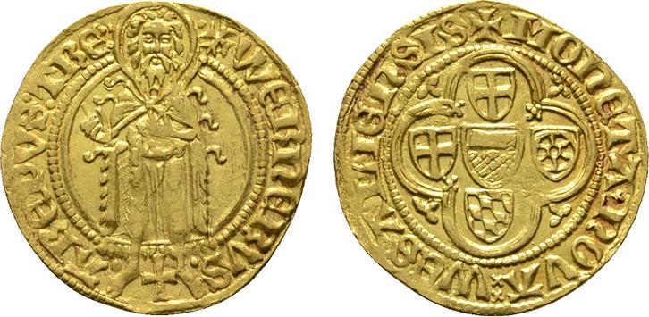 Goldgulden o.J. (1399-1402), Oberwesel. TRIER Werner von Falkenstein, 1388-1418. Gut ausgeprägt, mit allen Details. Vorzüglich +.