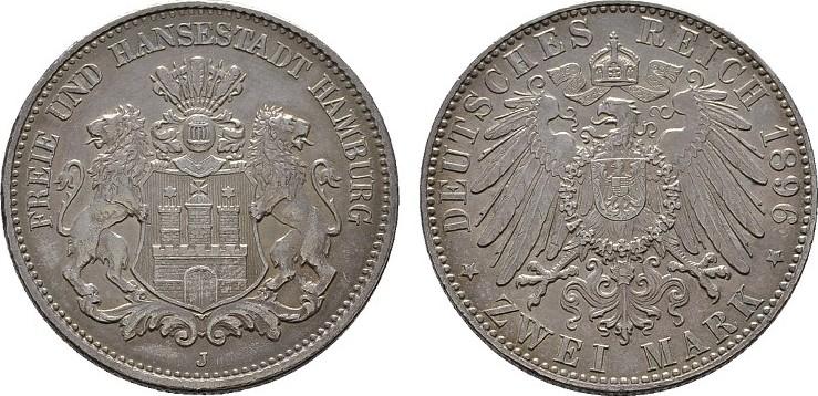 2 Mark 1896, J. Hamburg Freie und Hansestadt. Fast Stempelglanz.