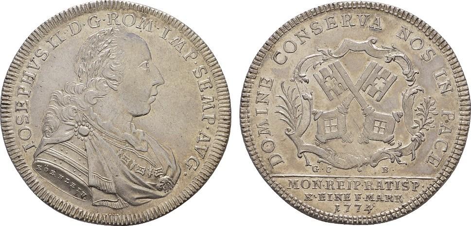 Konv.-Taler 1774. REGENSBURG Vorzüglich -Stempelglanz