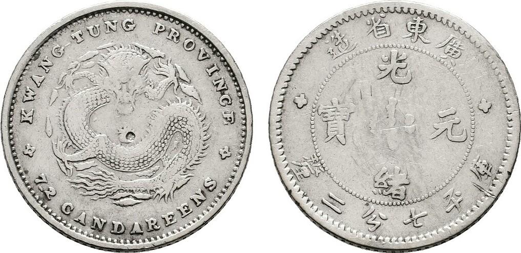 10 Cents o.J. (1890) CHINA Kwangtung Sehr schön -Vorzüglich