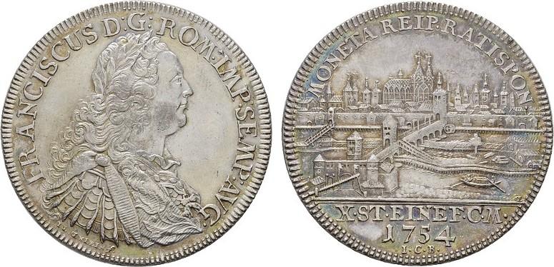 Konv.-Taler 1754. REGENSBURG Fast Stempelglanz.