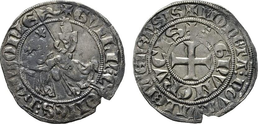 1/2 Gros (ca.1309), Valenciennes. BELGIEN Wilhelm I., 1304-1337. Kl. Schrtlf. Vorzüglich -.