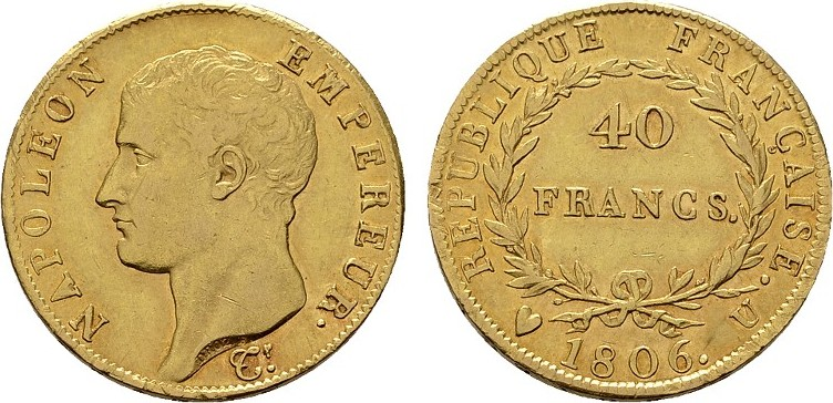 40 Francs 1806, U-Turin. ITALIEN Napoleon, 1805-1814. Fast vorzüglich / Vorzüglich.