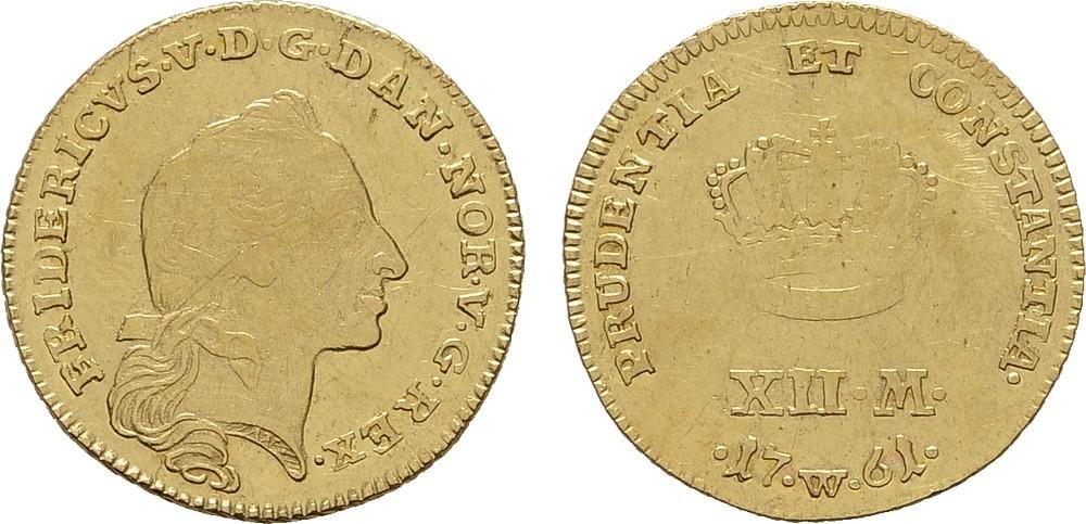 12 Mark 1761, W-Kopenhagen. DÄNEMARK Frederik V., 1746-1766. Sehr schön +