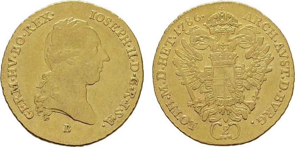 2 Dukaten 1786, Kremnitz. RÖMISCH-DEUTSCHES REICH Josef II., 1765-1790. Sehr schön +