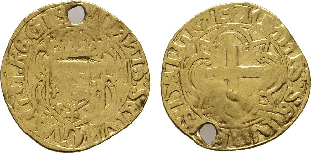Cruzado o.J., Lissabon. PORTUGAL Johann II., 1481-1495. Gelocht. Schön-Sehr schön