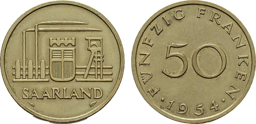 50 Franken 1954. SAARLAND Stempelglanz.