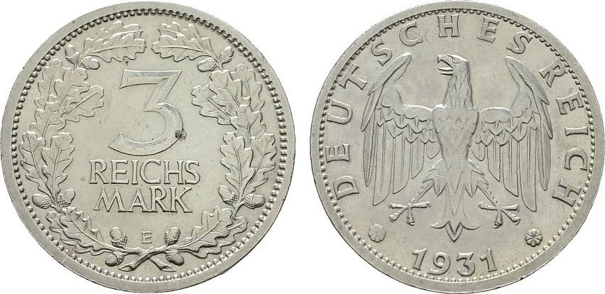 3 Reichsmark 1931, E. WEIMARER REPUBLIK Vorzüglich -Stempelglanz
