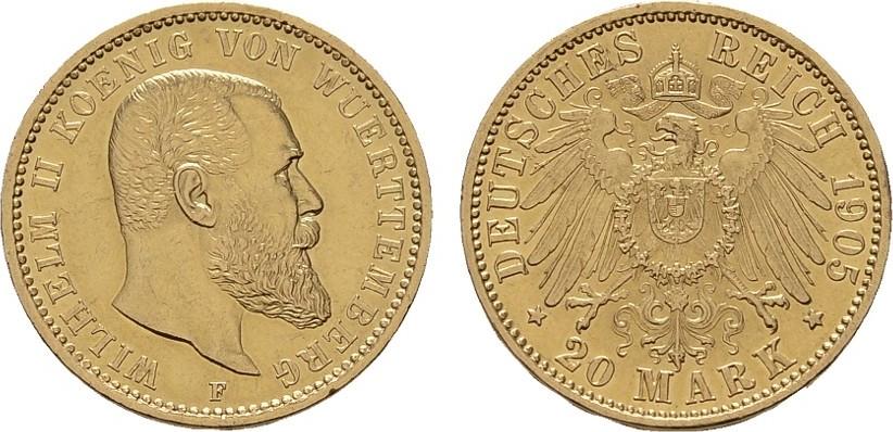 20 Mark 1905, F. Württemberg Wilhelm II., 1891-1918. Vorzüglich.
