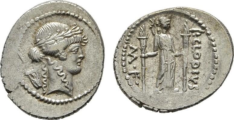 AR-Denar, Rom. MÜNZEN DER RÖMISCHEN REPUBLIK P. Clodius M.F.Turinus, 42 v. Chr. Fast vorzüglich-vorzüglich.