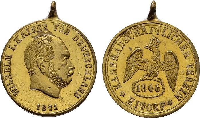 Bronzemedaille 1871. KAISERREICH Wilhelm I., 1861-1888. Kl. Flecken. Fast Stempelglanz.