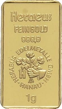 1 Gramm Feingoldbarren diverse Hersteller - TAGESGOLD Bankfrisch