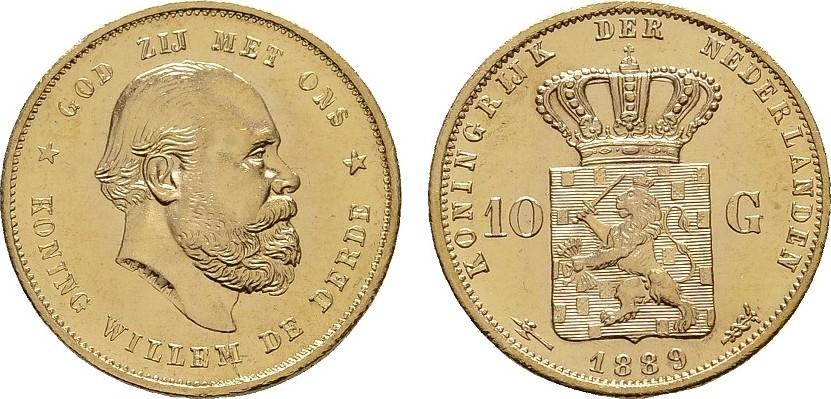 10 Gulden Jahr nach unserer Wahl. NIEDERLANDE Wilhelm III., 1849-1890. Fast Stempelglanz