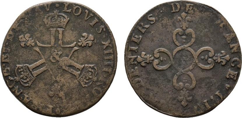 Ku.-6 Deniers 1710 &-AIX FRANKREICH Louis XIV, 1643-1715. Schön-sehr schön