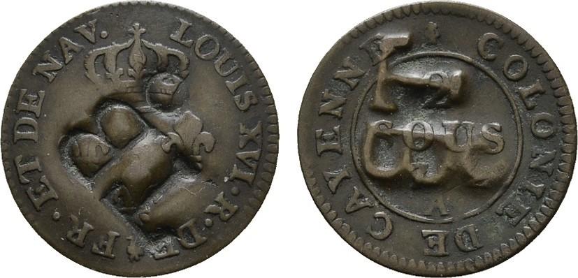Ku.-2 Sous 17(82)? FRANKREICH/KOLONIEN Louis XVI, 1774-1793. Sehr schön +