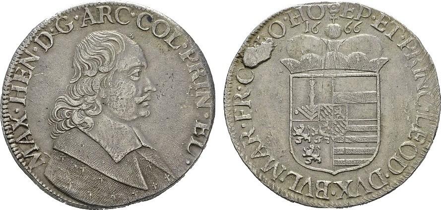 Patagon 1666. BELGIEN Maximilian Heinrich von Bayern, 1650-1688. Sehr schön +