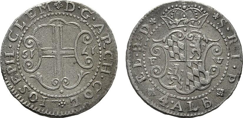 4 Albus 1719. KÖLN Joseph Klemens von Bayern zum zweiten Mal, 1714-1723. Vorzüglich