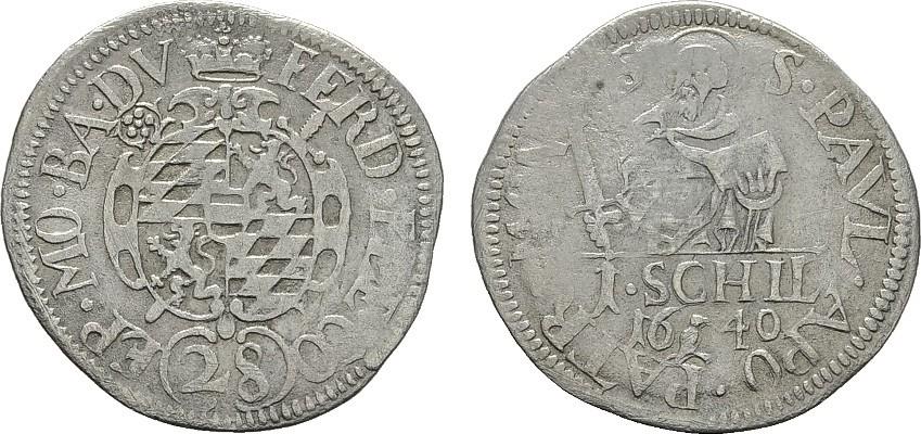 Schilling 1640 EK. MÜNSTER Ferdinand von Bayern, 1612-1650. Sehr schön