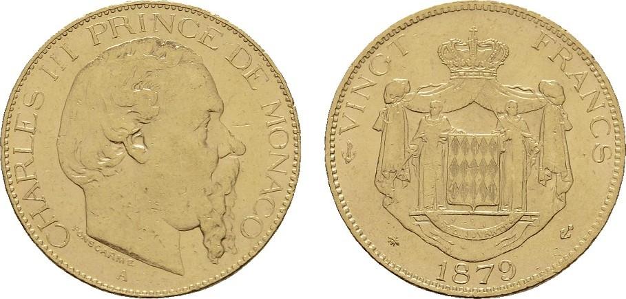 20 Francs 1879 MONACO Charles III., 1856-1889. Fast vorzüglich