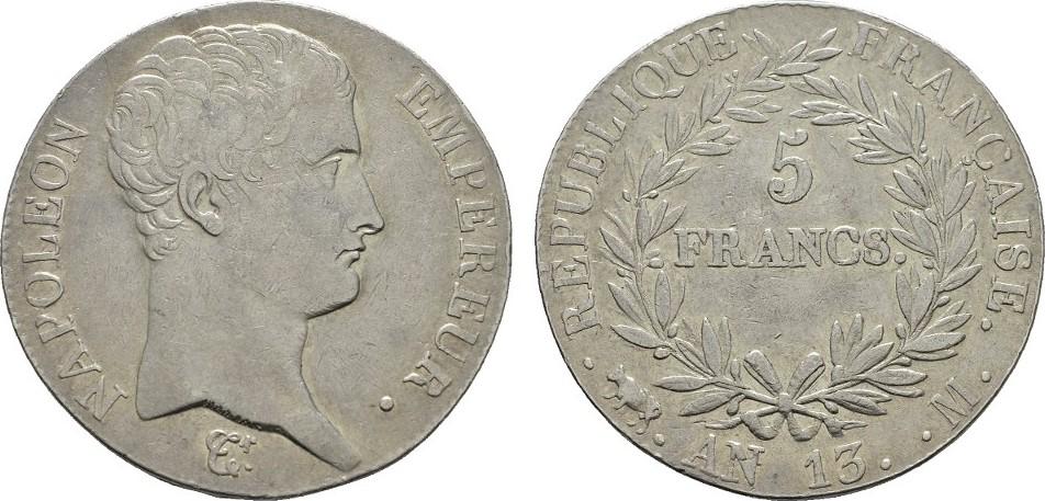 5 Francs AN 13 M - Toulouse FRANKREICH Napoléon I, 1804-1814, 1815. Sehr schön +