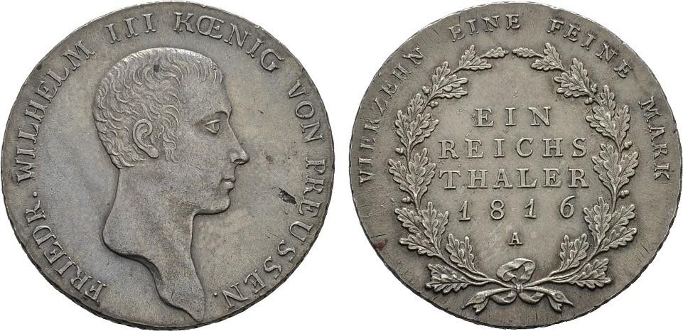 Reichstaler 1816 Berlin. BRANDENBURG-PREUSSEN Friedrich Wilhelm III., 1797-1840. Fast Stempelglanz