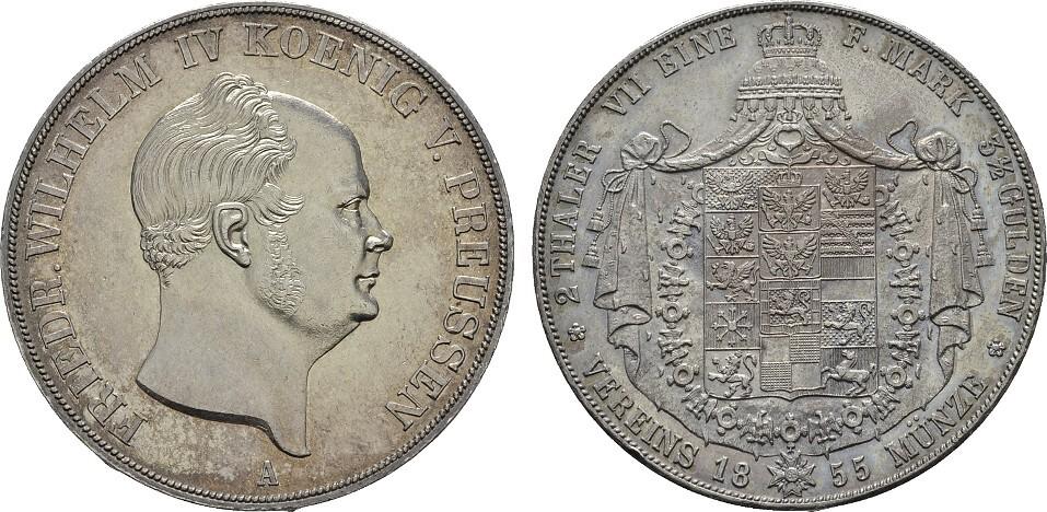 Doppeltaler 1855 A, Berlin. BRANDENBURG-PREUSSEN Friedrich Wilhelm IV., 1840-1861. Vorzüglich+ / Stempelglanz