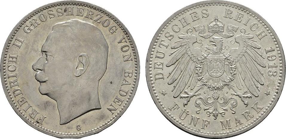 5 Mark 1913 G. Baden Friedrich II., 1907-1918. Leichte Patina. Stempelglanz