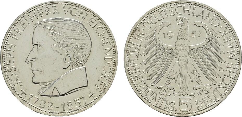 5 DM 1957, J. BUNDESREPUBLIK DEUTSCHLAND Vorzüglich