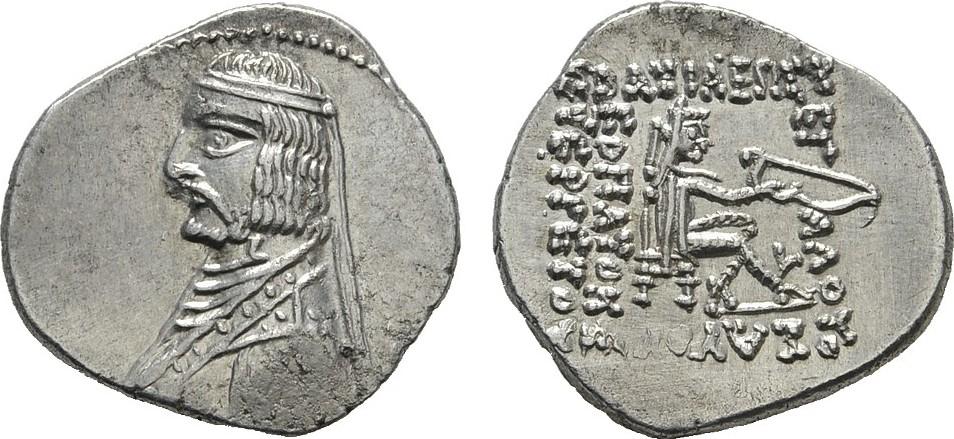 AR-Drachme, Rhagae. PARTHIA Arsakes XVI., 78-61 v. Chr. Großer Schrötling. Prägefrisch