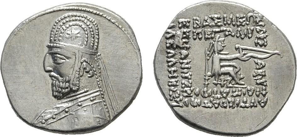 AR-Drachme Ekbatana. PARTHIA Mithradates III., 87-80 v. Chr. Vorzüglich
