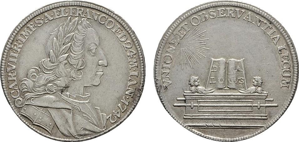 Silberabschlag von den Stempeln des Doppeldukaten 1742. FRANKFURT Vorzüglich +